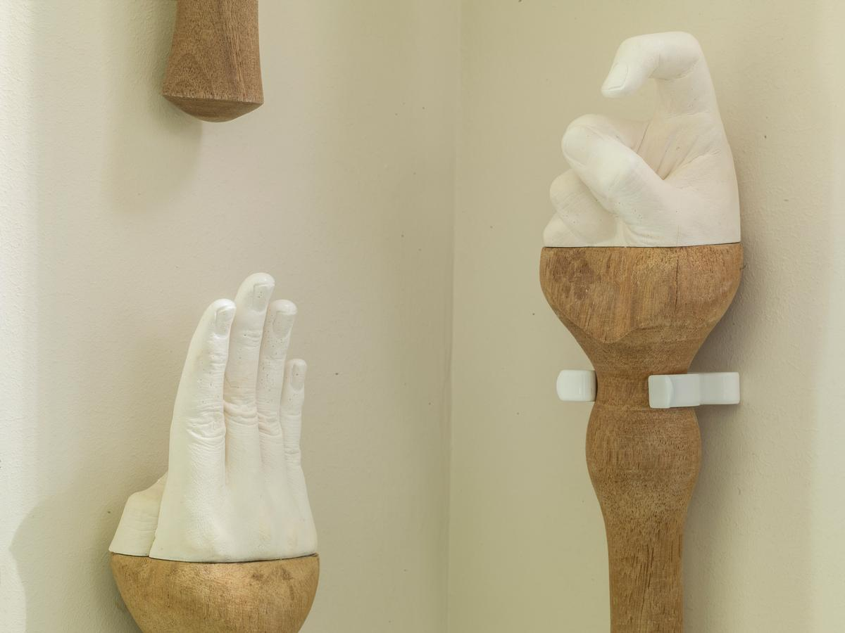 Hand sculptures create an interesting feature in the Pottery Room / No. 15 Great Pulteney