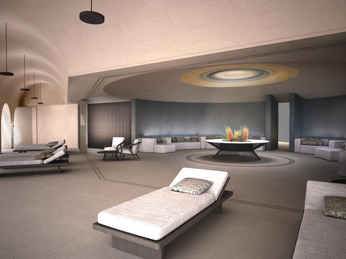 Landscaped into the earth, the spa will rise over four storeys, taking spa-goers on a purifying journey