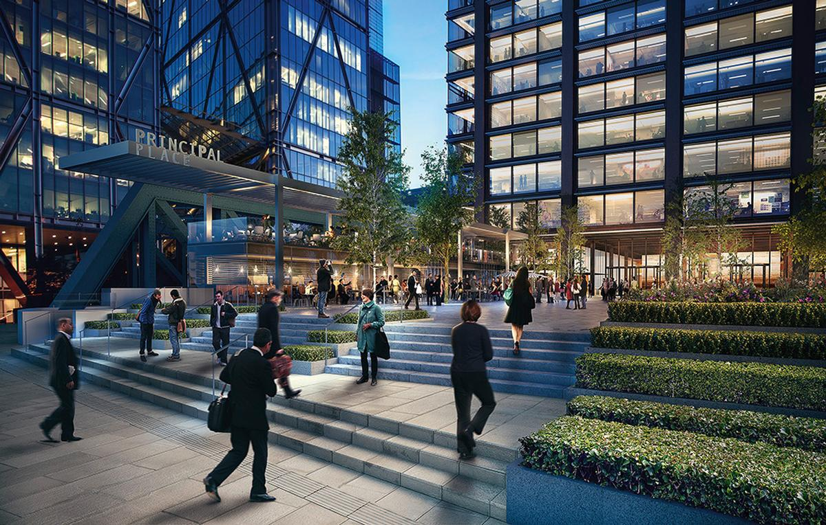 Principal Place will feature a large public piazza / Brookfield