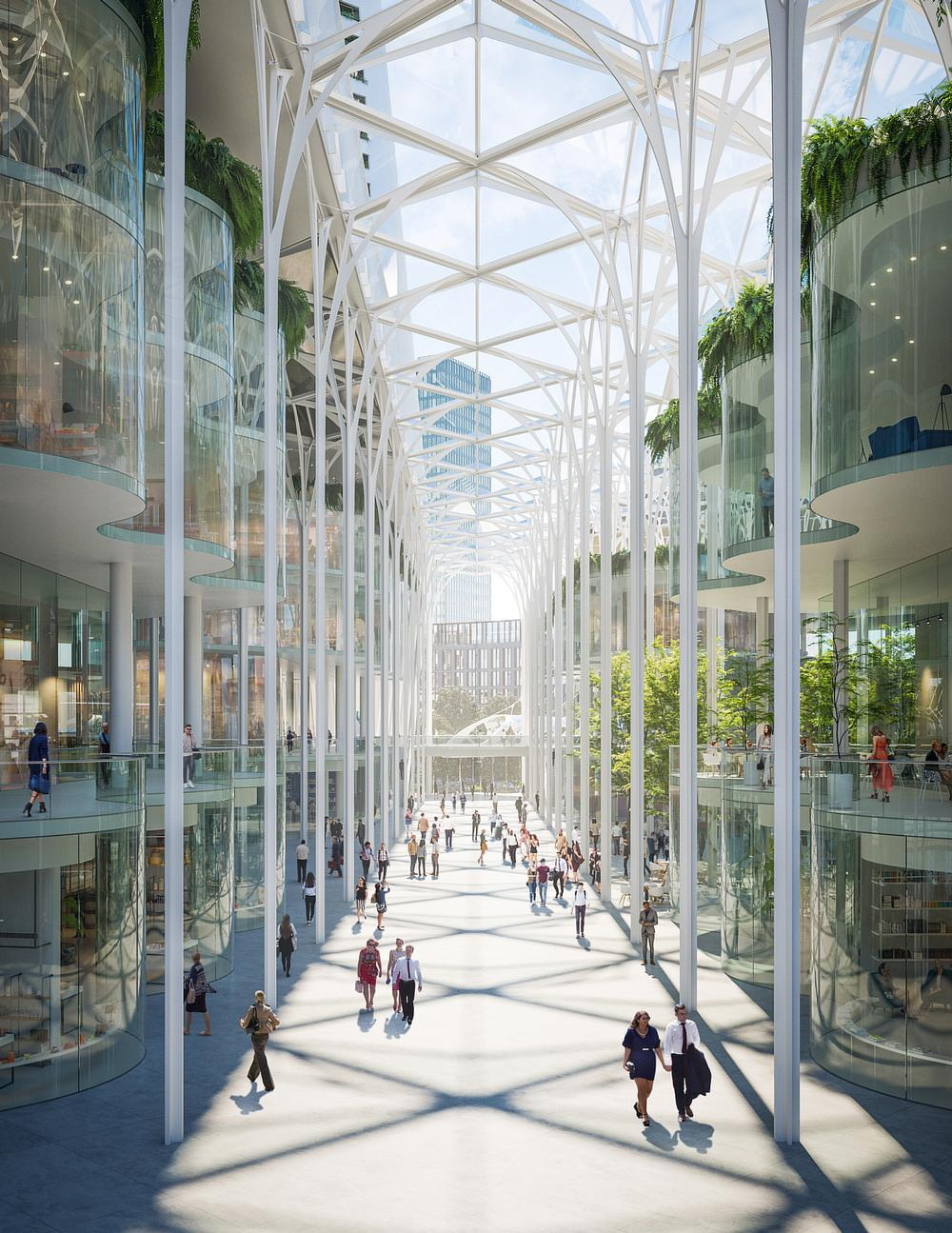 Peninsula Place's 80ft-high Galleria will feature a range of pavement cafés, shops and restaurants / ©Uniforn