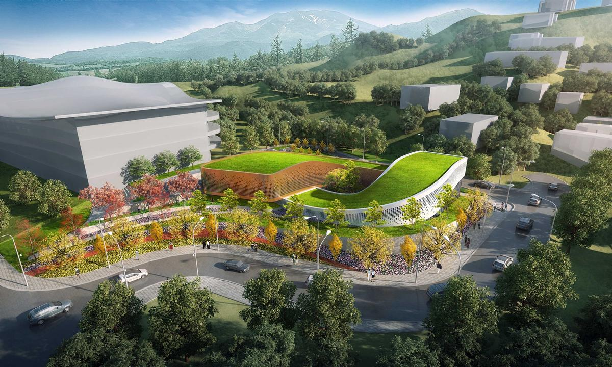The Four Seasons Town Reception Center will welcome spectators to Fulong Four Seasons Resort – an Olympic venue located 90km northwest of Beijing / Group GSA