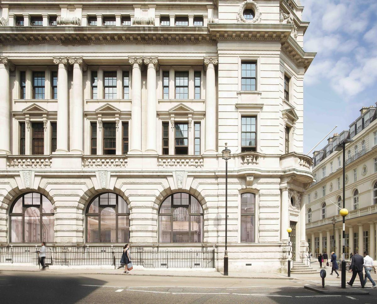 External alterations to the building – re-christened E St James's – have been kept to a minimum, although new louvres have been added to the basement level façade / Equinox