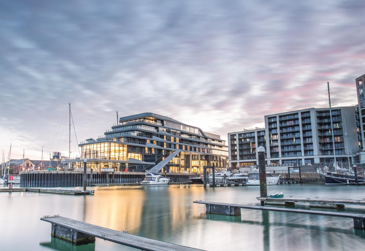 The 91-bedroom hotel is located on a prominent spot at Southampton Port's Ocean Village Marina / AECOM