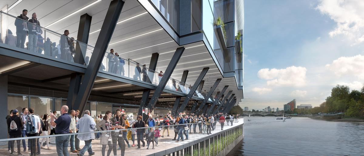 The design will connect the stadium more closely with the river / Populous