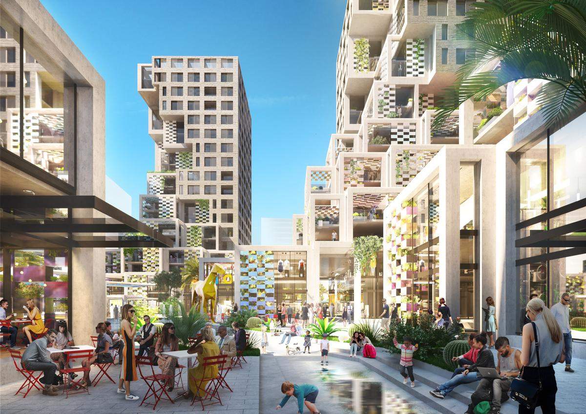Dutch architects MVRDV have revealed designs for their inaugural project in the United Arab Emirates: a mixed-use residential and leisure district for Abu Dhabi's high-profile Makers District / MVRDV