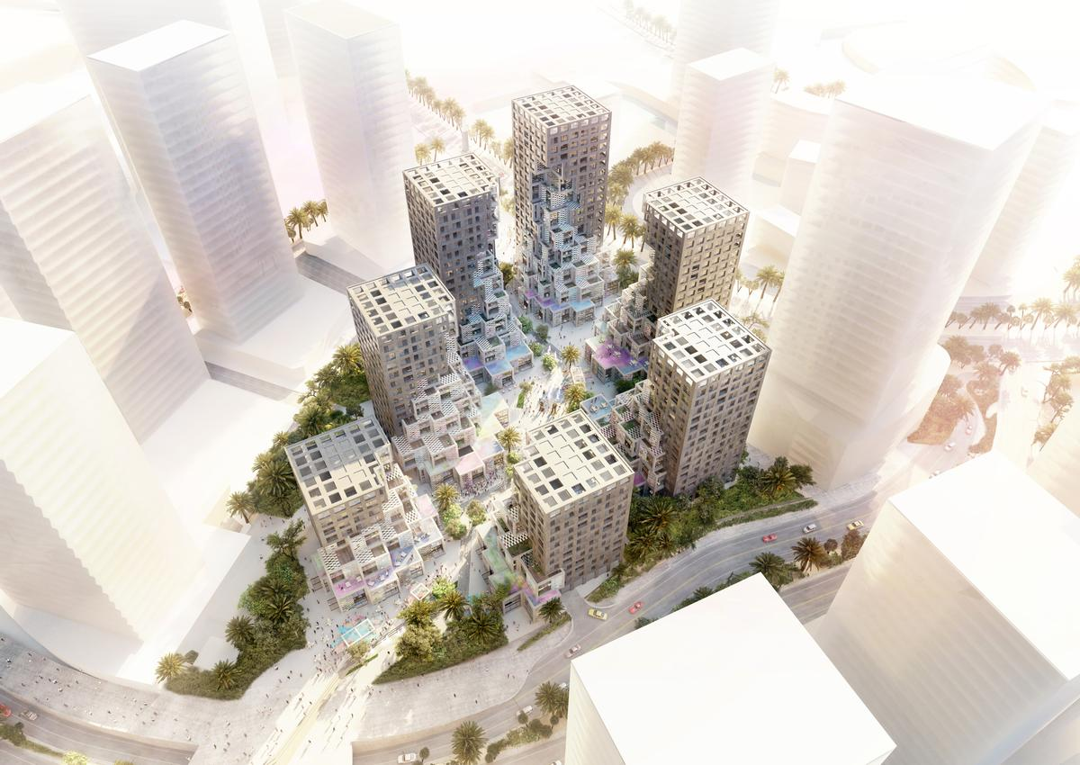 Called Pixel, the 76,000sq m (818,000sq ft) development will consist of seven 'pixelated' mid-rise towers organised around a lively public plaza / MVRDV