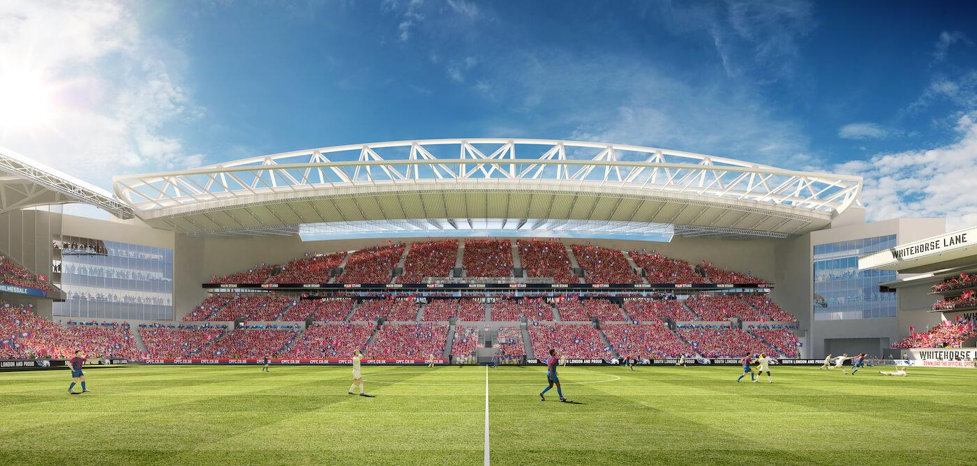 Capacity in the new stand will increase from around 5,400 to 13,500 and a new roof will be added to funnel sound down to the pitch / Crystal Palace