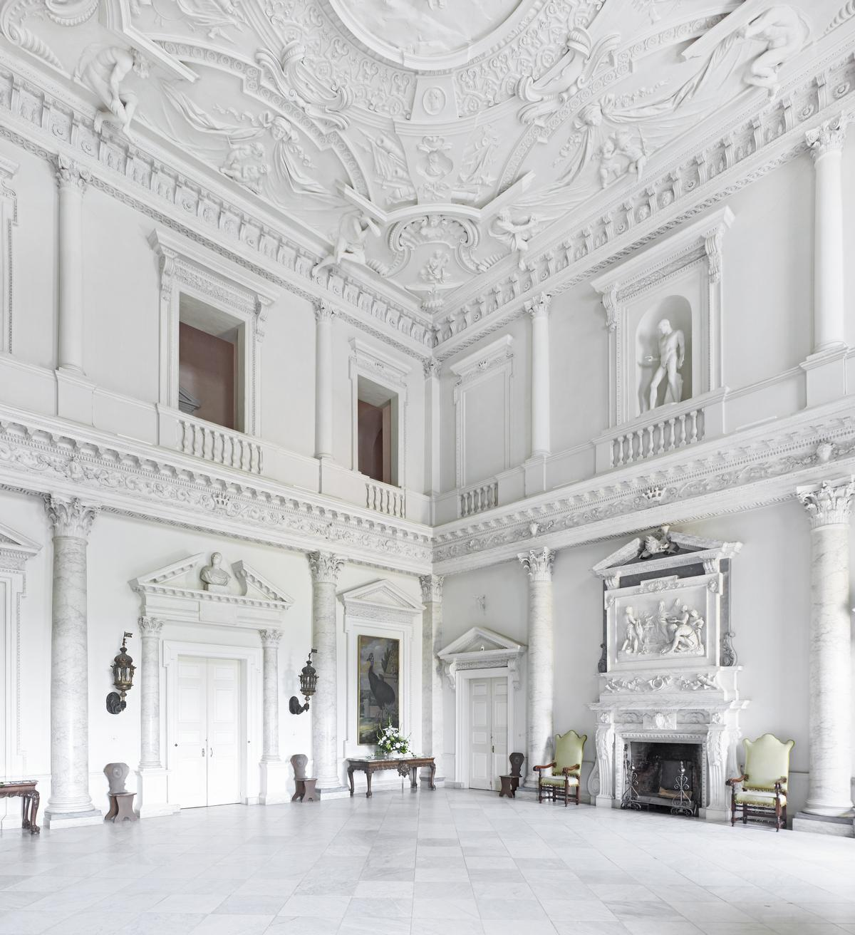 Clandon Park was designed by Venetian architect Giacomo Leoni in the early 18th century for a local baron, and was celebrated, pre-fire, for its Marble Hall / Anthony Parkinson