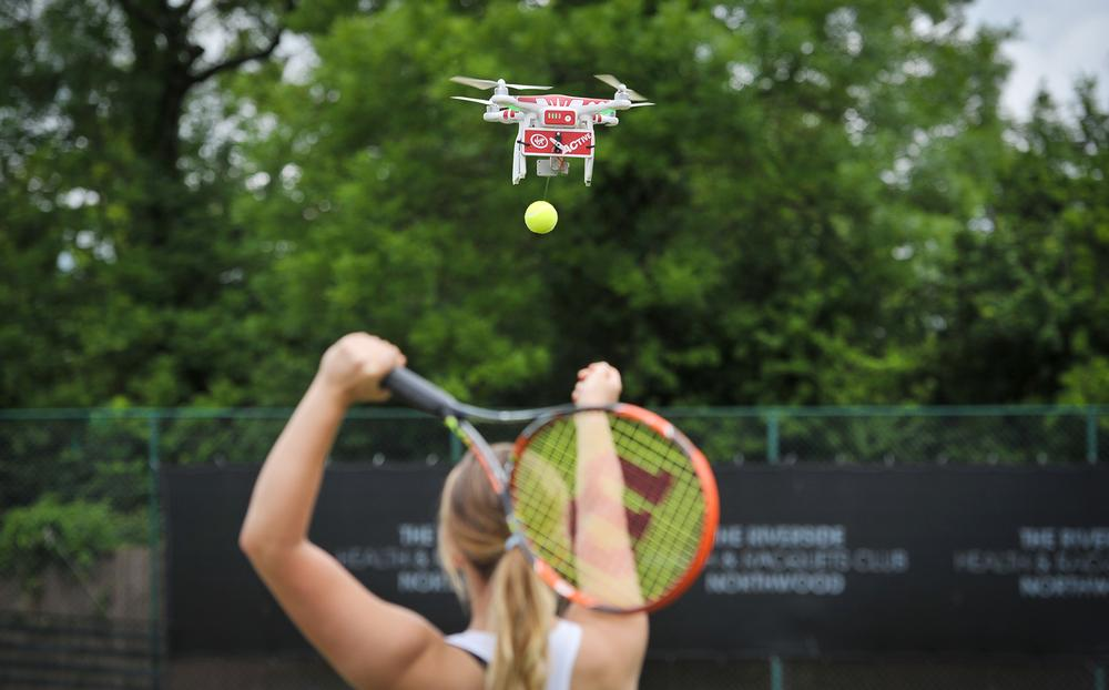 Virgin Active health clubs use 'Drone-ovic' to help its members improve their tennis game