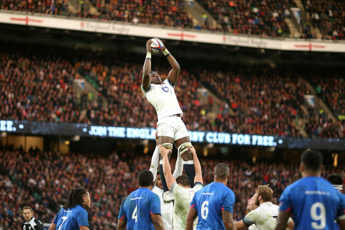 England's Maro Itoje claims the ball from a line out during the Autumn International at Twickenham Stadium, one of 17 matches which boosted the coffers / Paul Harding/PA Wire/PA Images