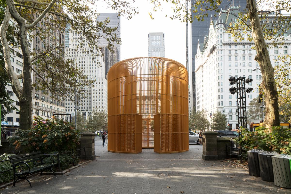 Over 300 site-specific, freestanding works have been installed, including a gilded cage at the Doris C. Freedman Plaza at Central Park / UAP