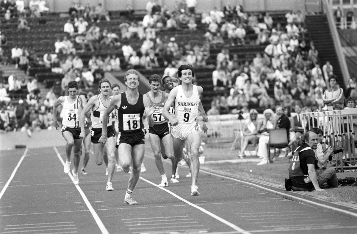 Peter Elliott (18) and Sebastian Coe (9) neck and neck during the final of the 1500 metres in the AAA Championships at Crystal Palace, when Elliott pipped Coe to claim a place in the Los Angeles Olympics / PA Archive