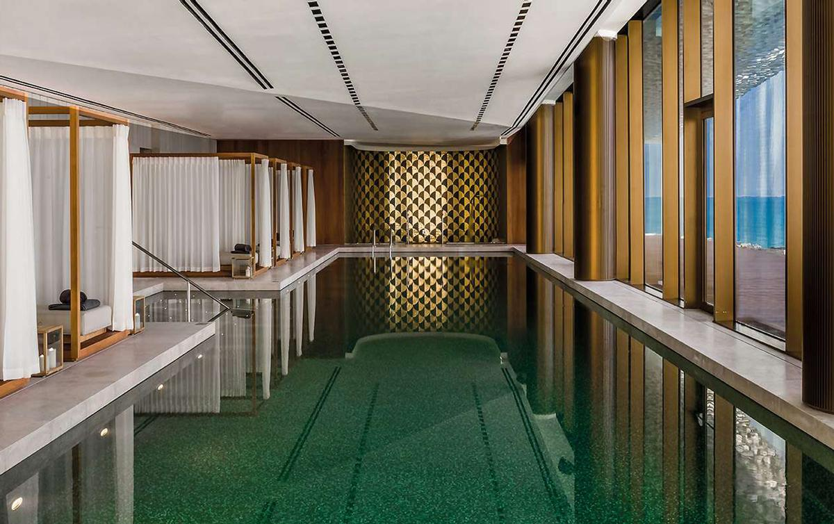 The resort features a 1,700sq m (18,300sq ft) Bulgari Spa with eight treatment rooms and a 25m indoor pool with floor-to-ceiling windows and views of the sea / Bulgari