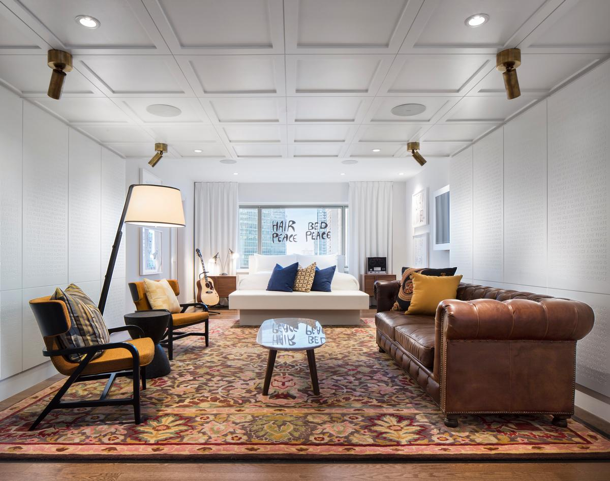 Design firm Sid Lee Architecture worked with local collective MASSIVart on the newly re-christened John Lennon and Yoko Ono Suite / Fairmont Le Reine Elizabeth