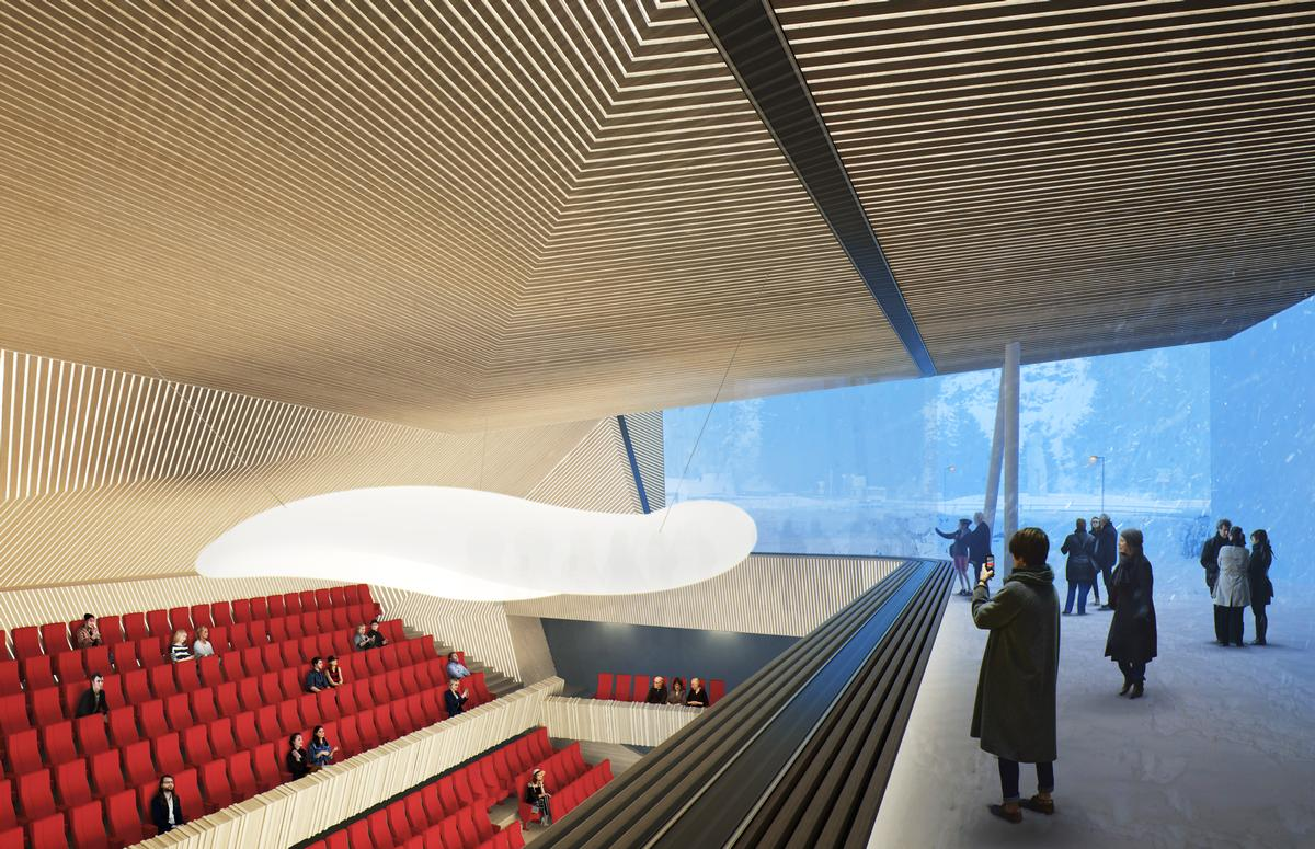 The bunker will be expanded and altered to adhere to the acoustical requirements of a concert hall, with sound reflectors added to the upper volumes / Studio Seilern Architects