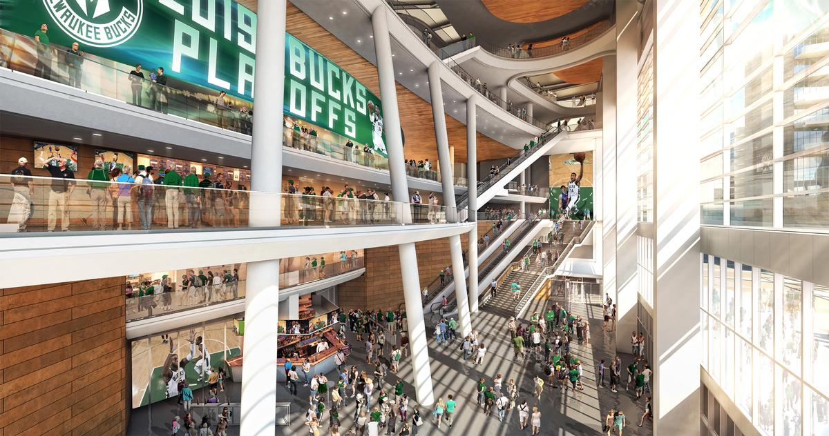 The glass-walled atrium will link the arena to the city's new entertainment district / Milwaukee Bucks