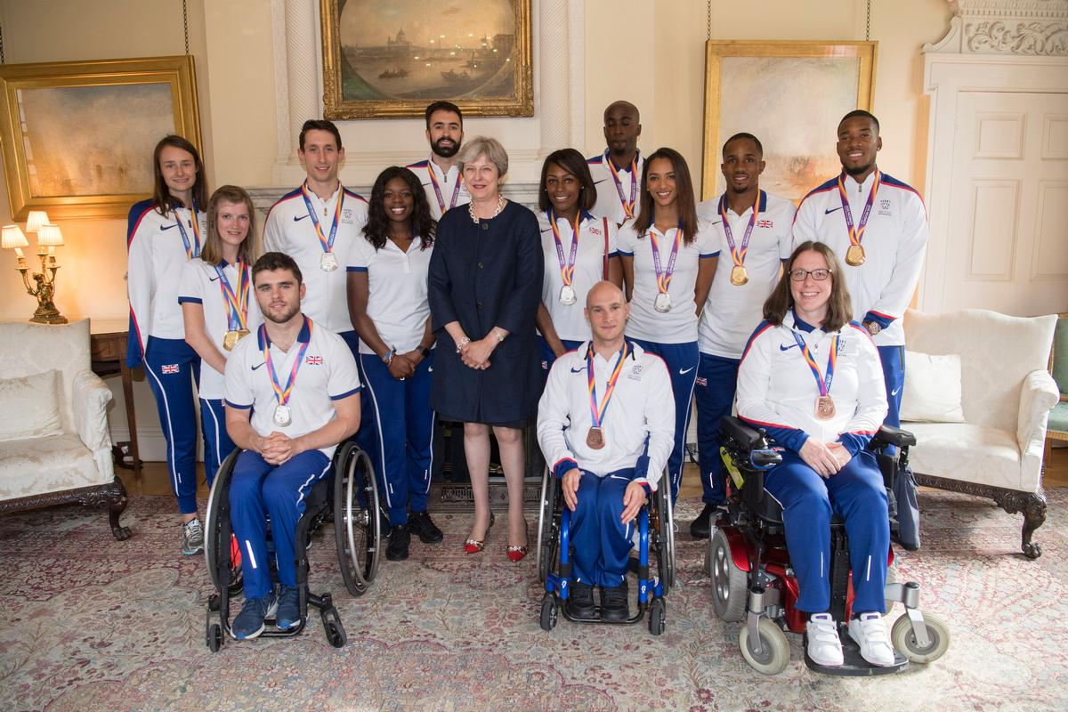 After the record-breaking events, prime minister Theresa May hosted a reception for British athletes, coaches and staff involved in the World Athletics and Para Athletics Championships / Paul Grover/Daily Telegraph/PA Wire/PA Images