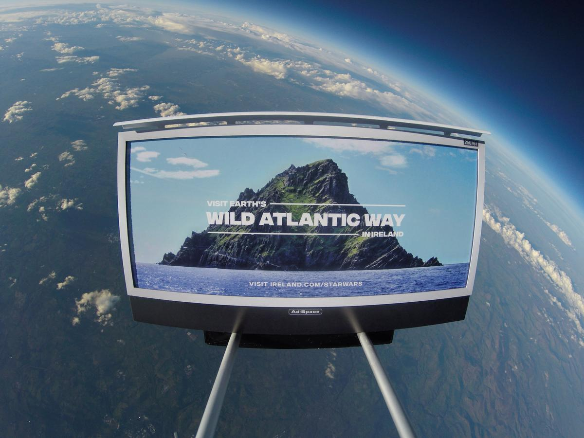 The sign for Ireland's latest tourism campaign travelled into space via weather balloon / Tourism Ireland