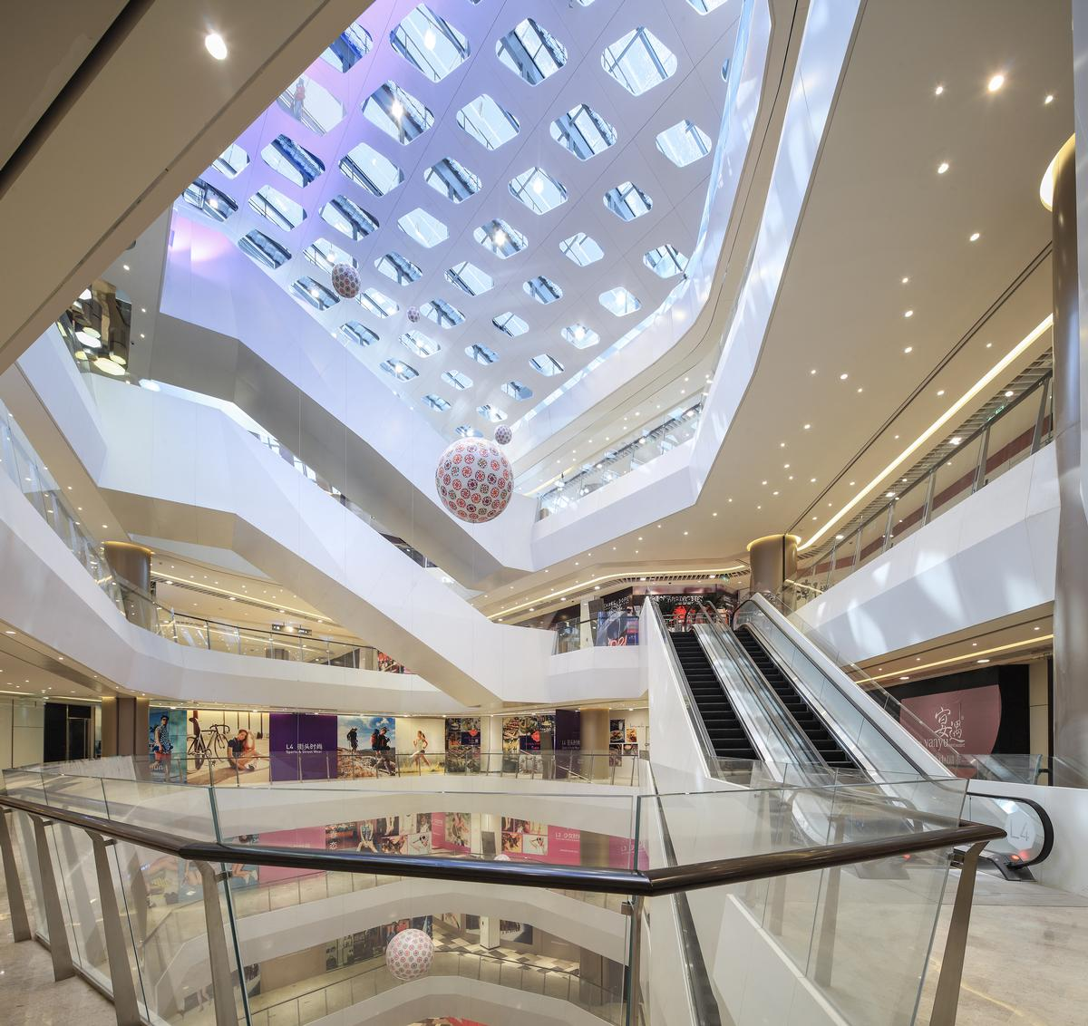 At the Crystal Galleria in Shanghai, B+H designed space for food offerings in 40 per cent of the six-level building to accommodate for a shifting focus to experience and food / B+H Architects