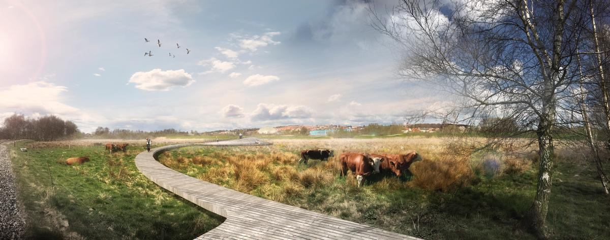 Subtle public pathways and amenities will be created so visitors can observe the park's flora and fauna, enjoy sunsets at the waterside and go canoeing on the river / C.F. Møller Architects