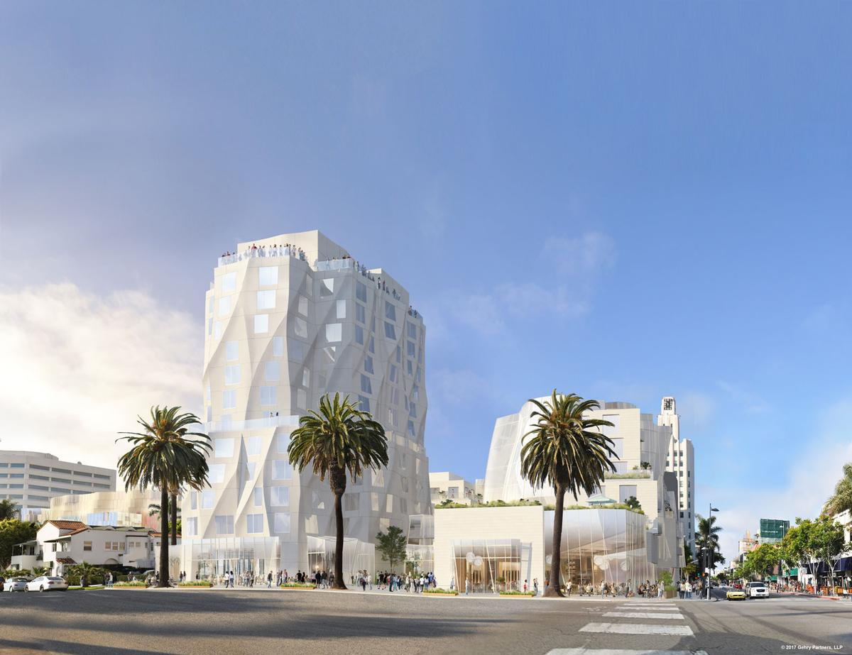 The revised design will see a slender, and typically sculptural, Gehry tower overlooking Santa Monica's oceanfront / Gehry Partners LLP