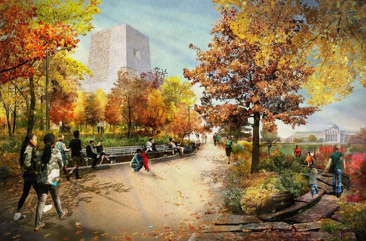 Designs show more trees in Jackson Park and a sleeker design for the main building / The Obama Presidential Center