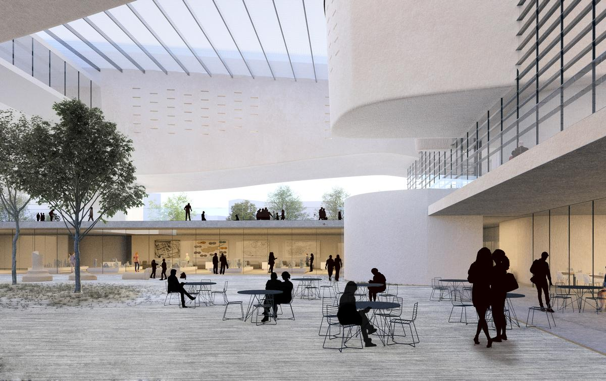People will be able to gather and socialise beneath the raised volumes of the museum / XZA Architects