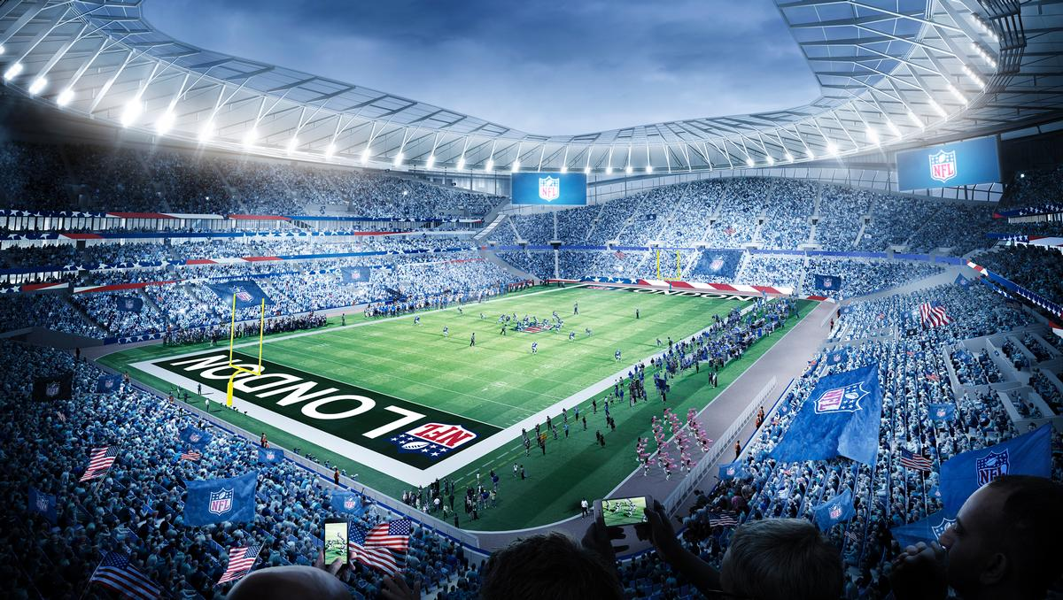 A new image shows the stadium in 'NFL mode'. The ground will include a fully retractable pitch, revealing a second playing surface. / Populous