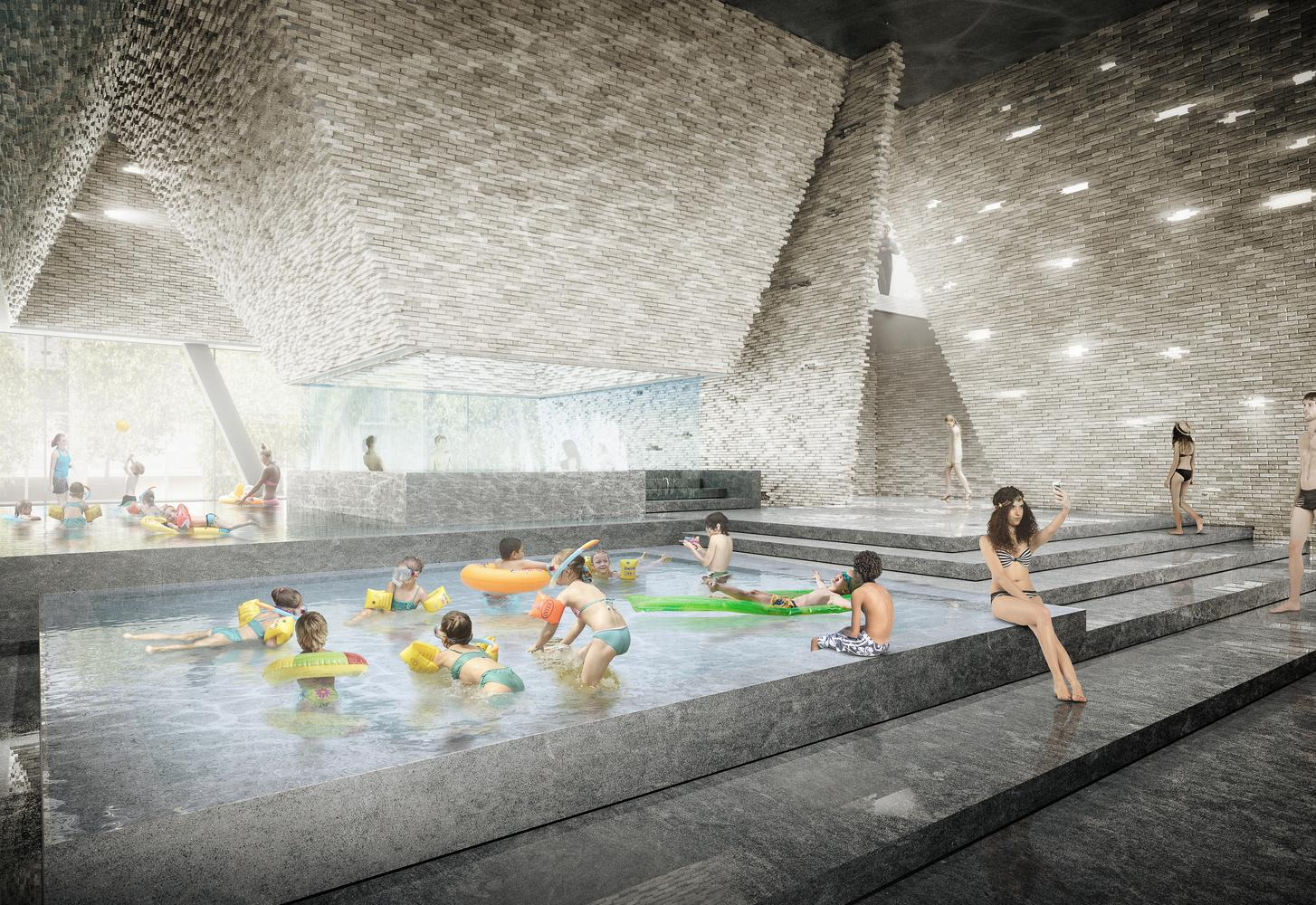 The Danish Water Culture Center is part of a wider masterplan for Paper Island created by architecture firm COBE / Kengo Kuma and Luxigon