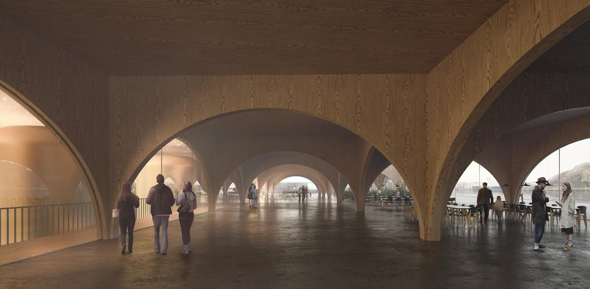 A large roof, supported by a series of wooden arches, will connect all functions of the visitor center and brewery / COBE