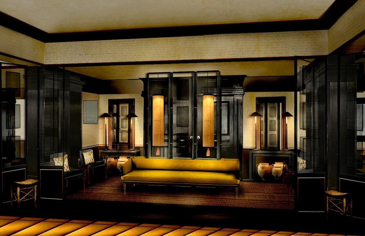 Hues of black gold and yellow will be layered with Oriental screens and calligraphy wallpaper / Six Senses