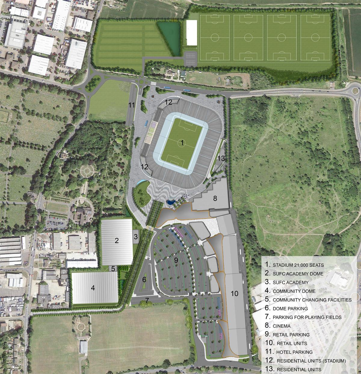 The plans include a 21,000-capacity stadium and a retail development with 12-screen cinema