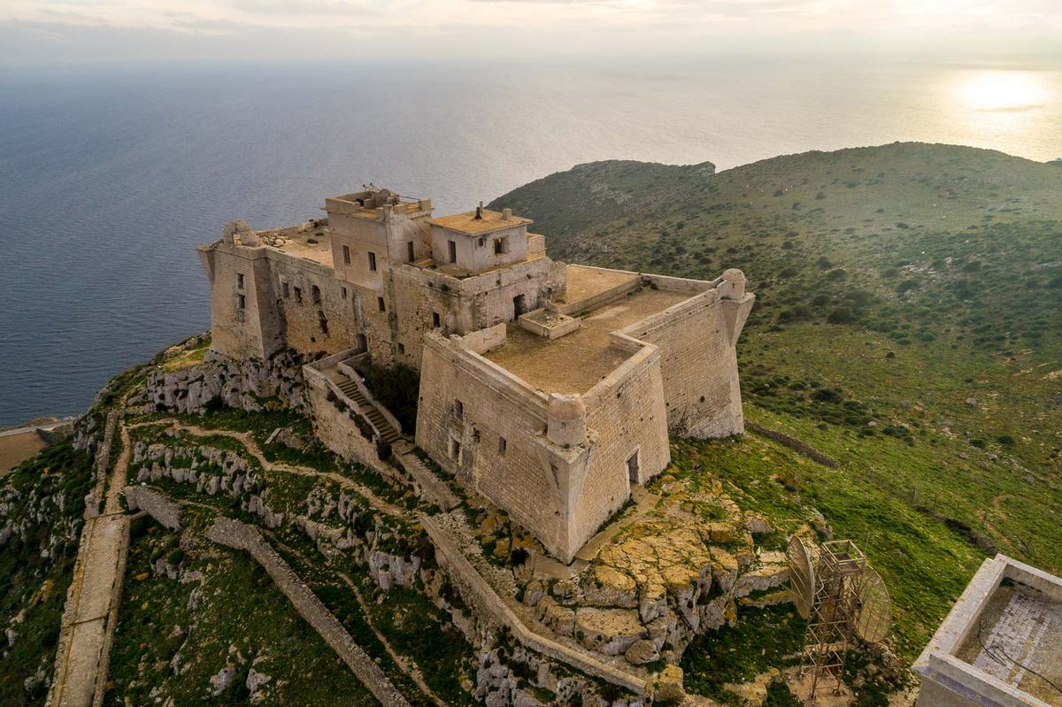 The fortress of Santa Caterina stands over the peak of Favignana, an isle in the Mediterranean Sea / YAC