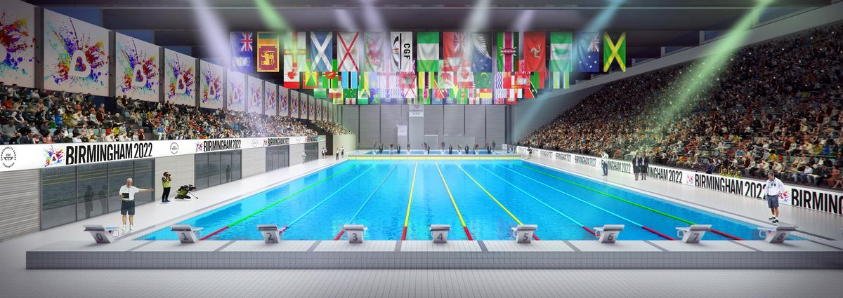 An artist's impression shows how the aquatics centre for the Commonwealth Games might look