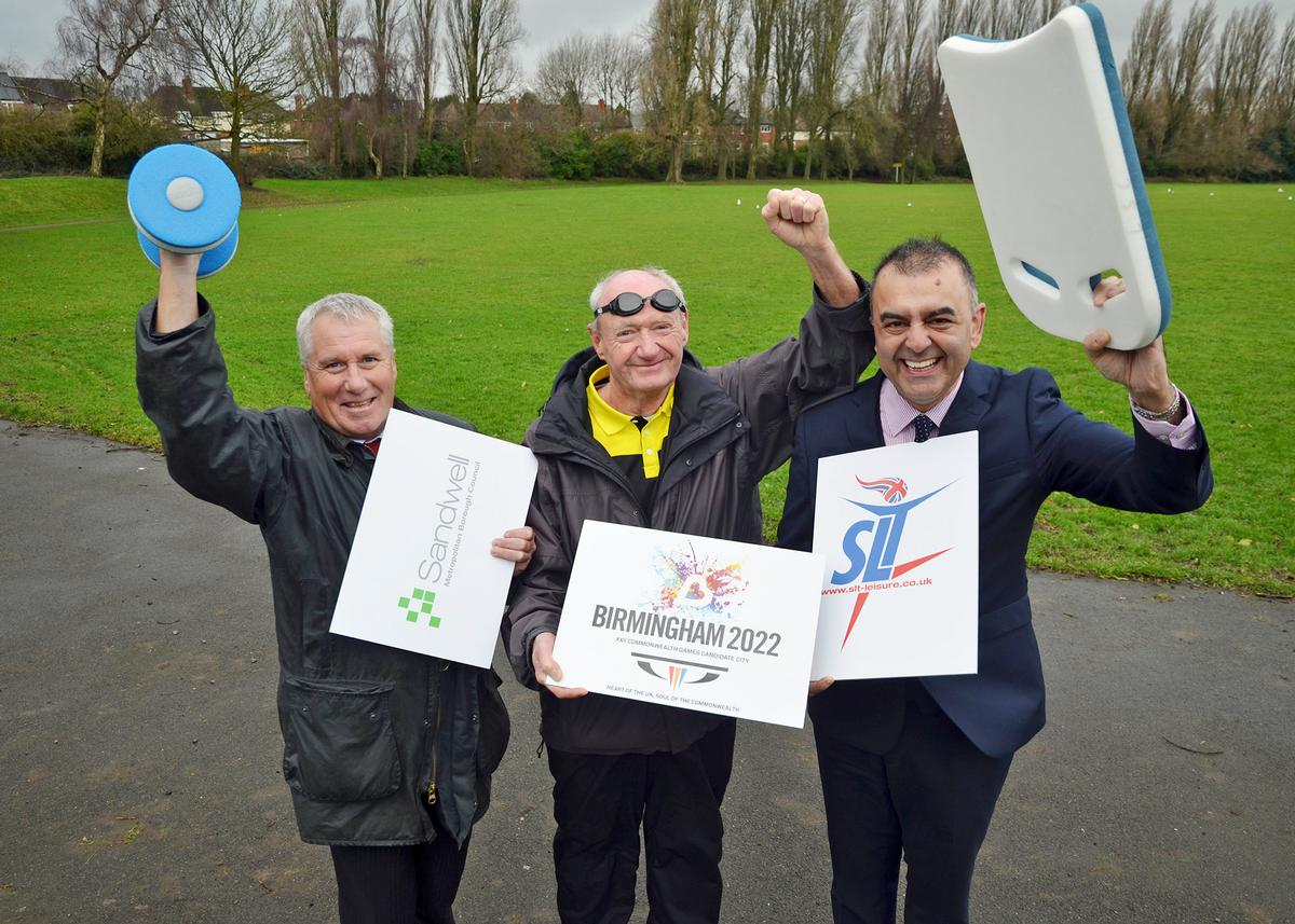 (Left to right) Steve Eling of Sandwell Council, Ray Evans of Warley Wasps Swimming Club and SLT CEO Ash Rai celebrate the new partnership and plans / SLT