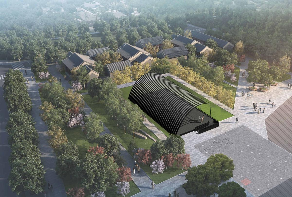 The inaugural pavilion has been designed by Chinese firm JIAKUN Architects, and it is set to open in May on the lawns of The Green at the WF Central retail hub / Serpentine Galleries