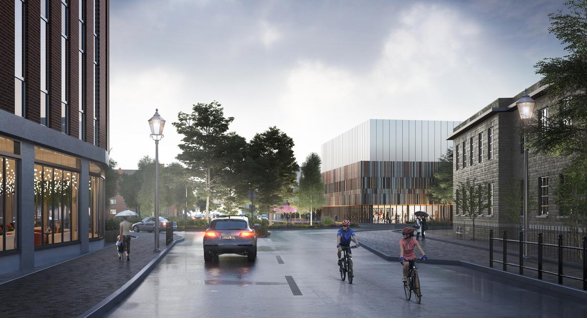The main sports hall will be housed within a relatively solid and constrained volume that is raised to allow high-occupancy spaces, such as the fitness suite and studios, to be placed at ground level / FaulknerBrowns