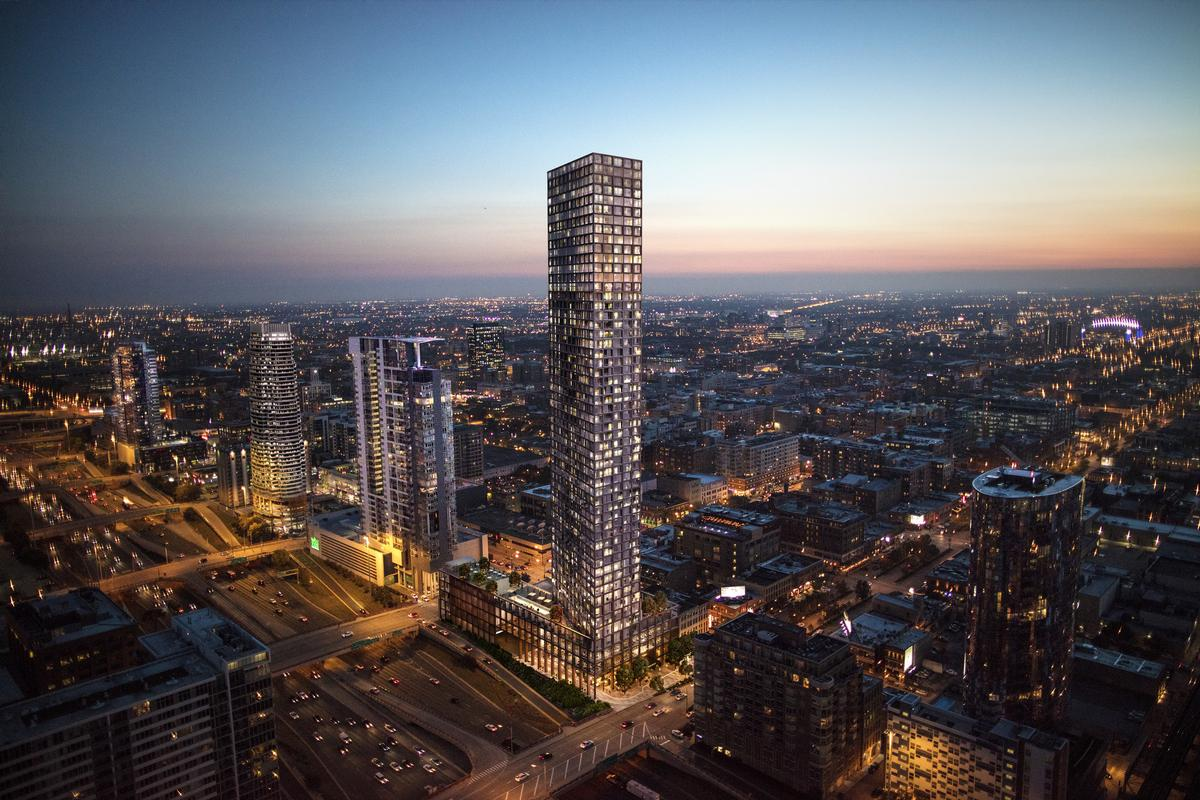 Above the base the tower will pivot at an oblique angle to maximise views of the Chicago skyline / Related Midwest