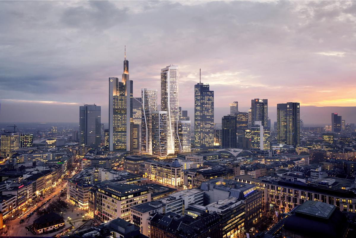 Four towers will be sat atop a vast plinth housing hotels, restaurants, bars, shops and open public spaces