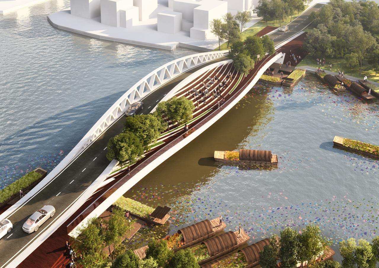 Conceived as a 24m-wide dual crossing for vehicles and pedestrians, the bridge will be separated along the centre by a tridimensional structure that blocks air and noise pollution / MVRDV
