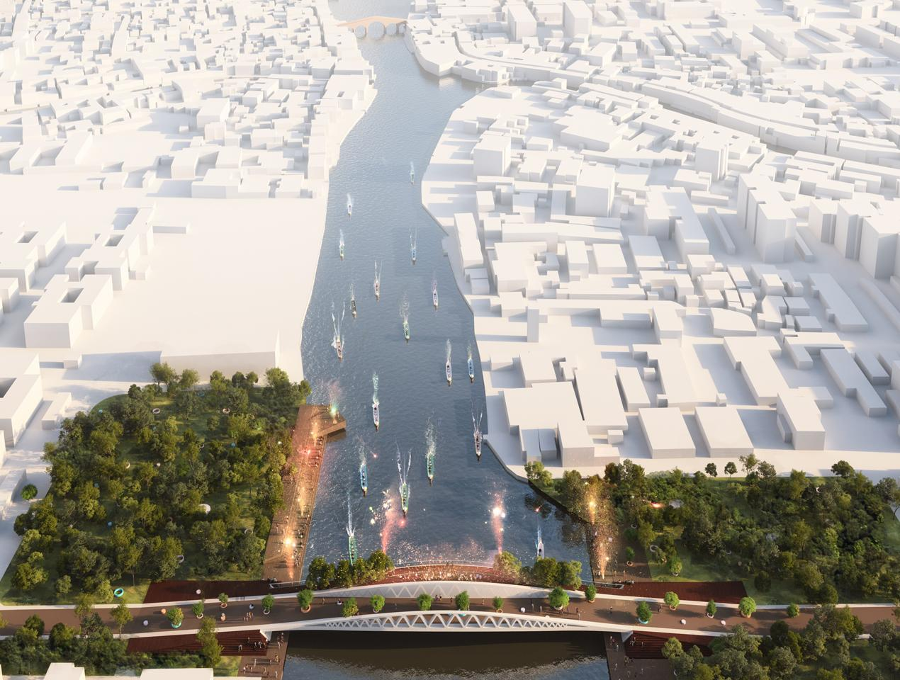 The bridge has been planned to integrate with the river and to the network of canals that form and identify Zhujiajiao