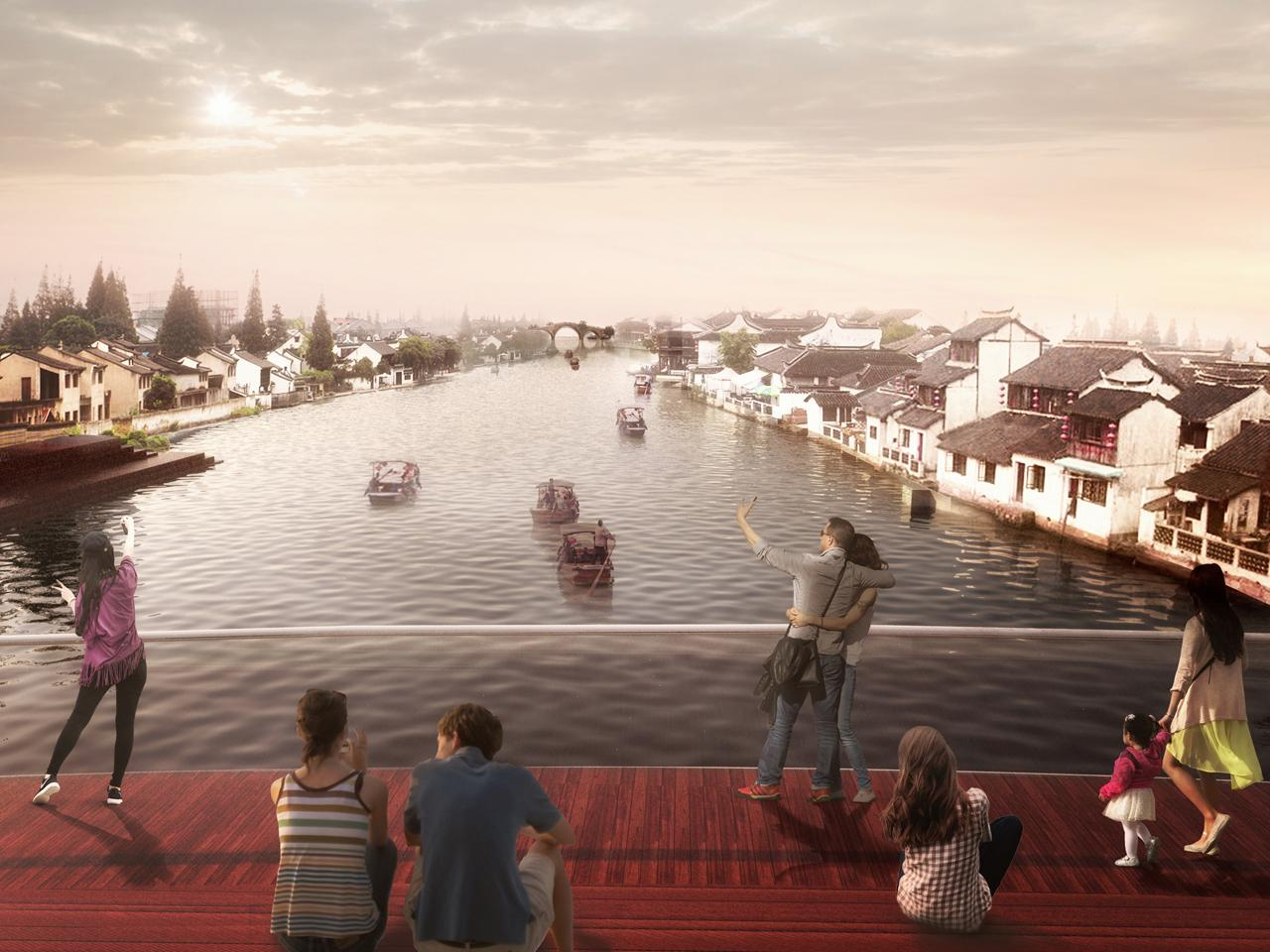 A viewing platform will allow people to gather and look downriver towards the 16th century Fangsheng Bridge and the surrounding ancient architecture / MVRDV