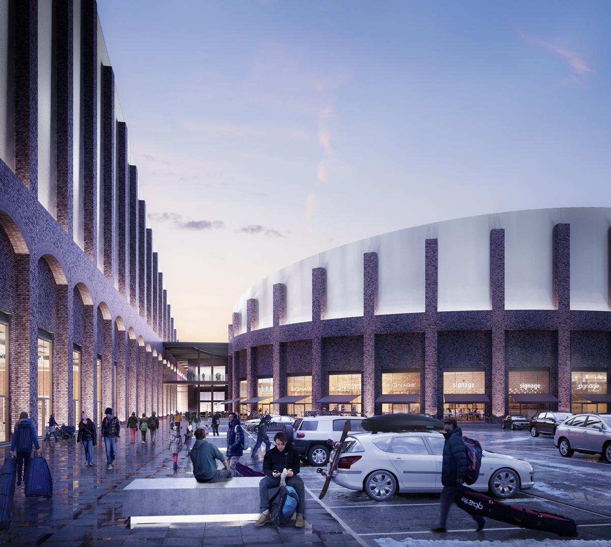 The centre will have two real-snow slopes; a twelve screen cinema with the largest IMAX screen in the UK; a bowling alley; an indoor trampolining centre; a hotel; shops and restaurants / FaulknerBrowns