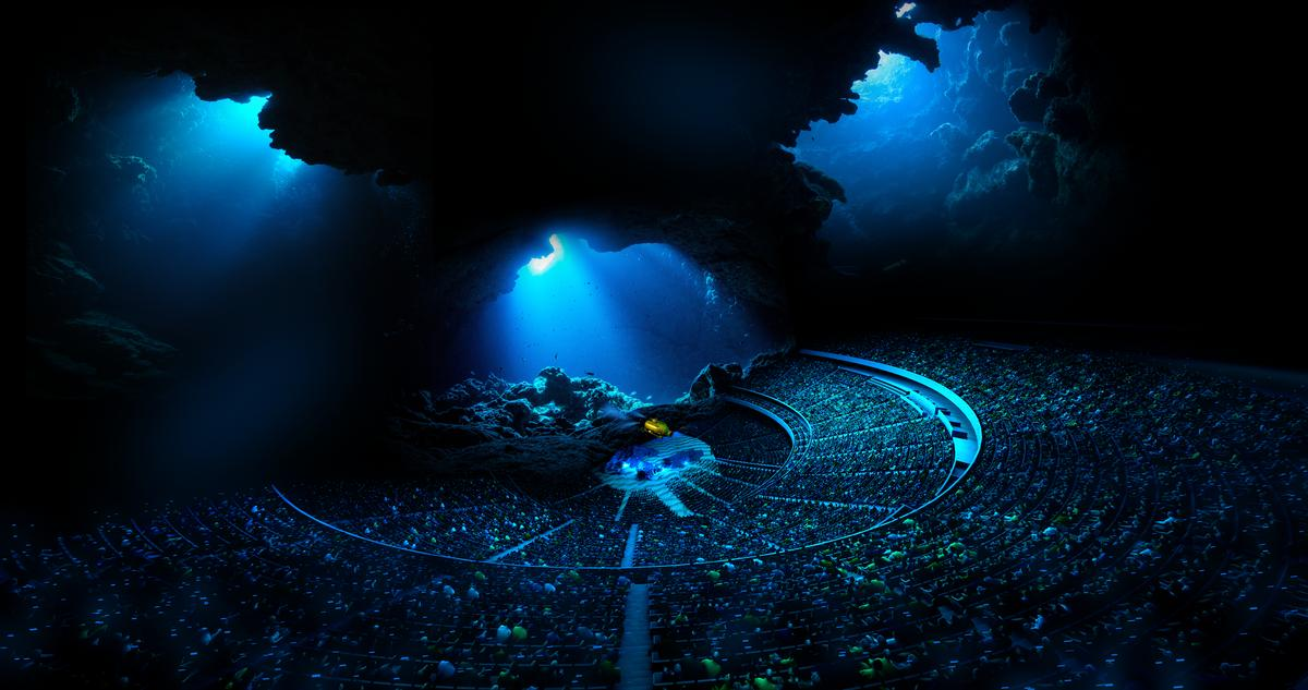 Visitors will be transported to underwater worlds, thanks to an interior bowl that features the largest and highest resolution media display on Earth