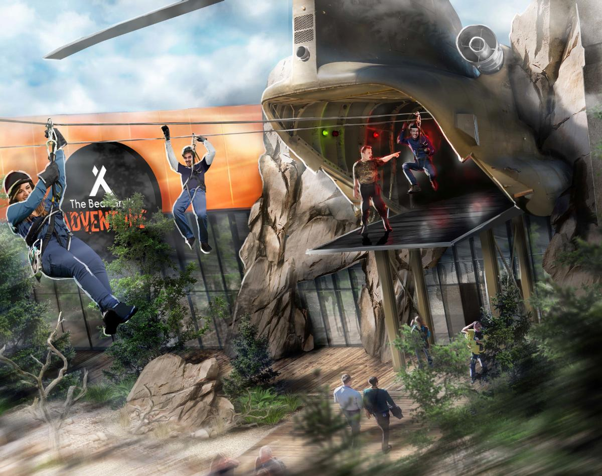 A new rendering of the attractions shows a Chinook helicopter zip wire experience
