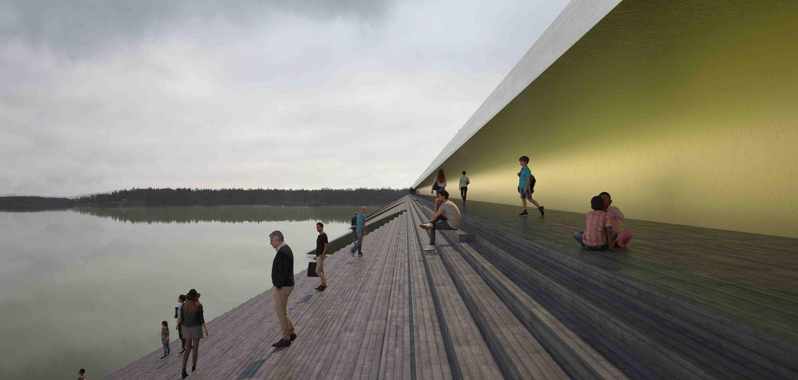 More than a mere crossing, the architects decided to 'introduce a new public space where people can enjoy the sun and get closer to the water' / Erik Andersson Architects