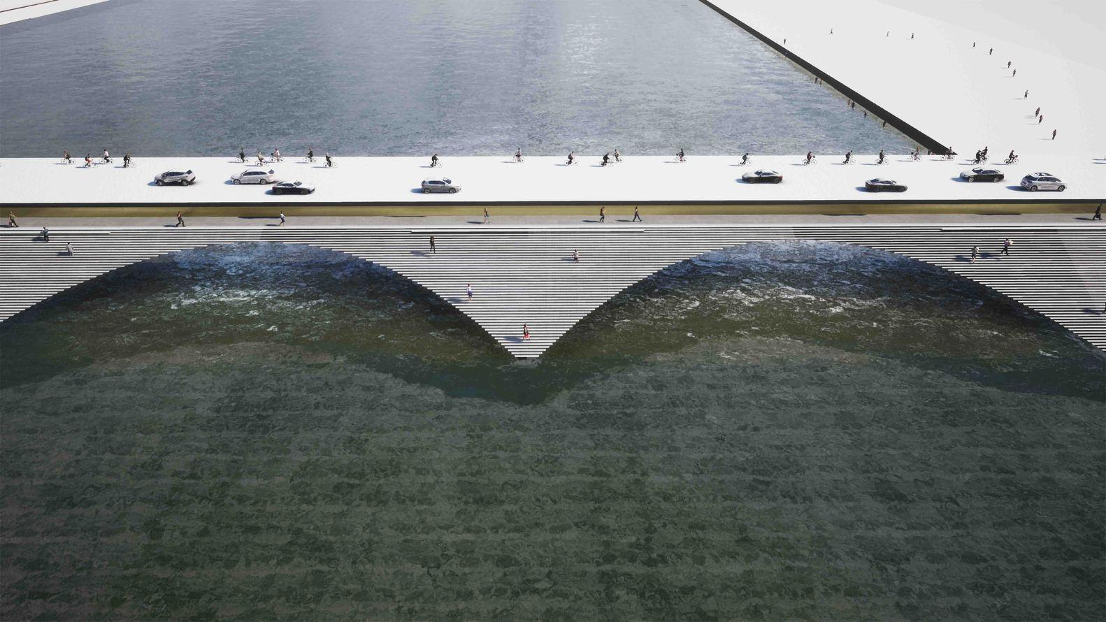 The Kalix Bridge will offer separate routes for vehicles, pedestrians and cyclists, as well as creating a shelter and tiered public spaces / Erik Andersson Architects