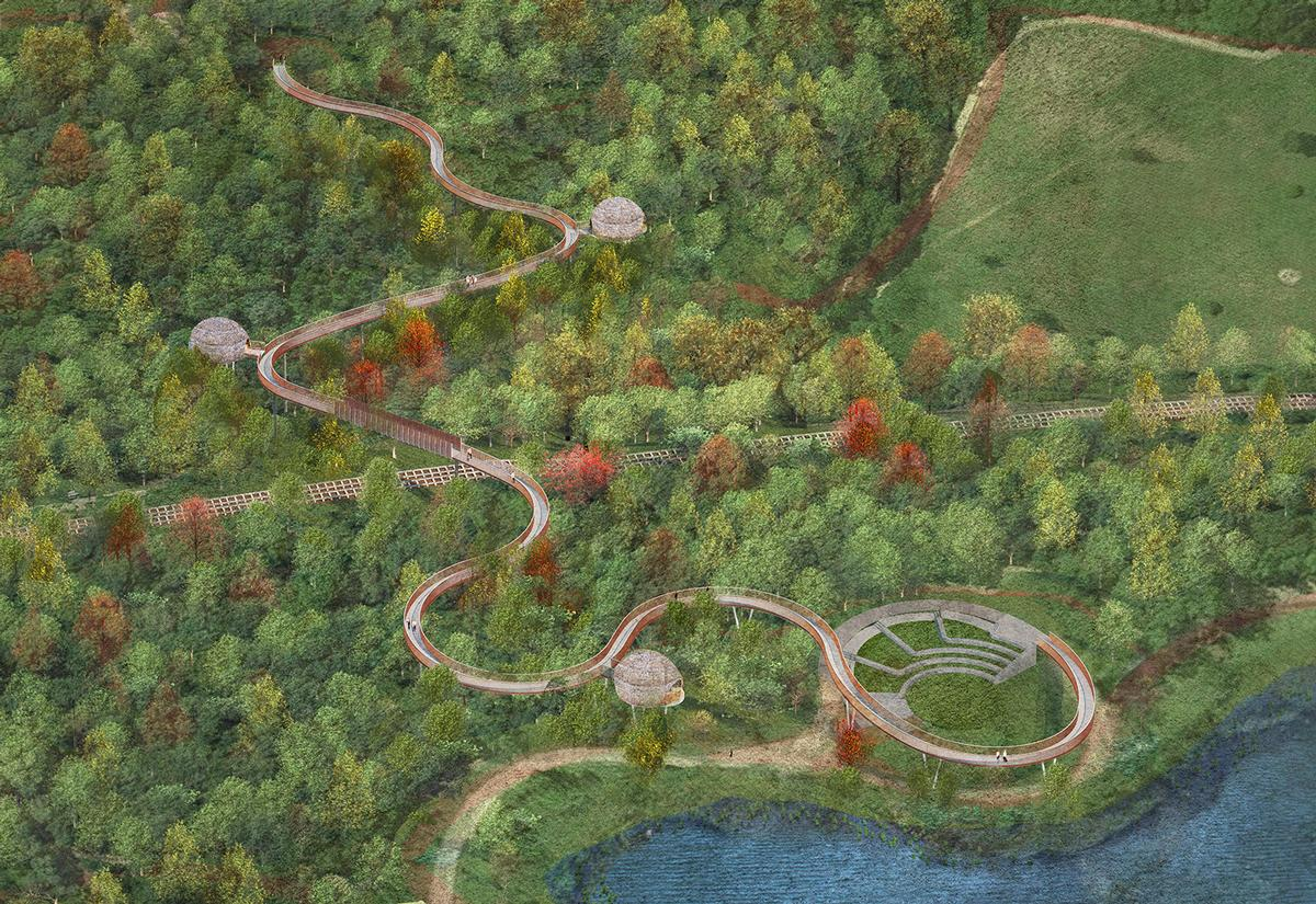 The sinuous attraction – composed of a galvanised steel structure – narrows and widens at different points, creating passing places and observation points overlooking the forest below / Cullinan Studio