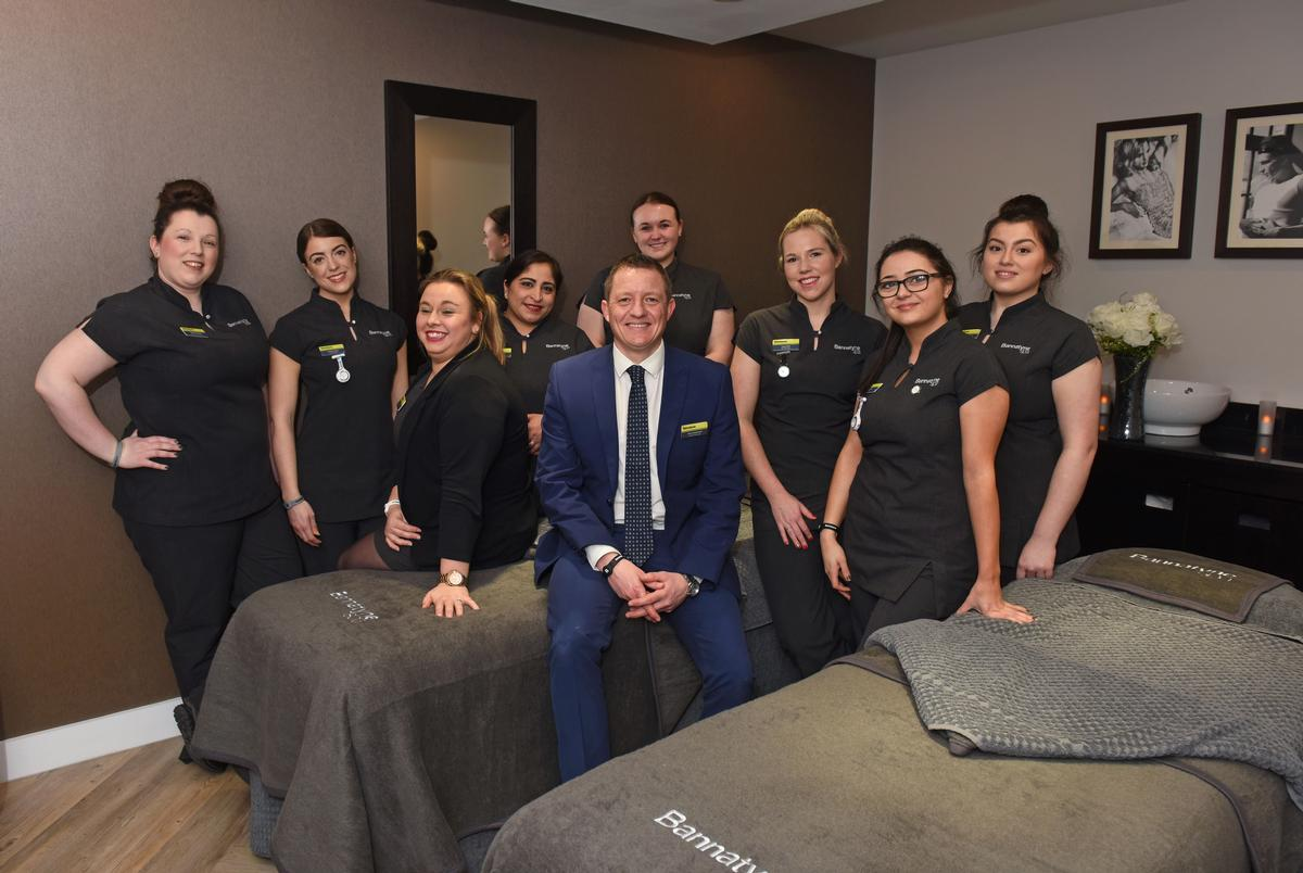 Dave Hammond, general manager at the Shrewsbury, with the spa team.