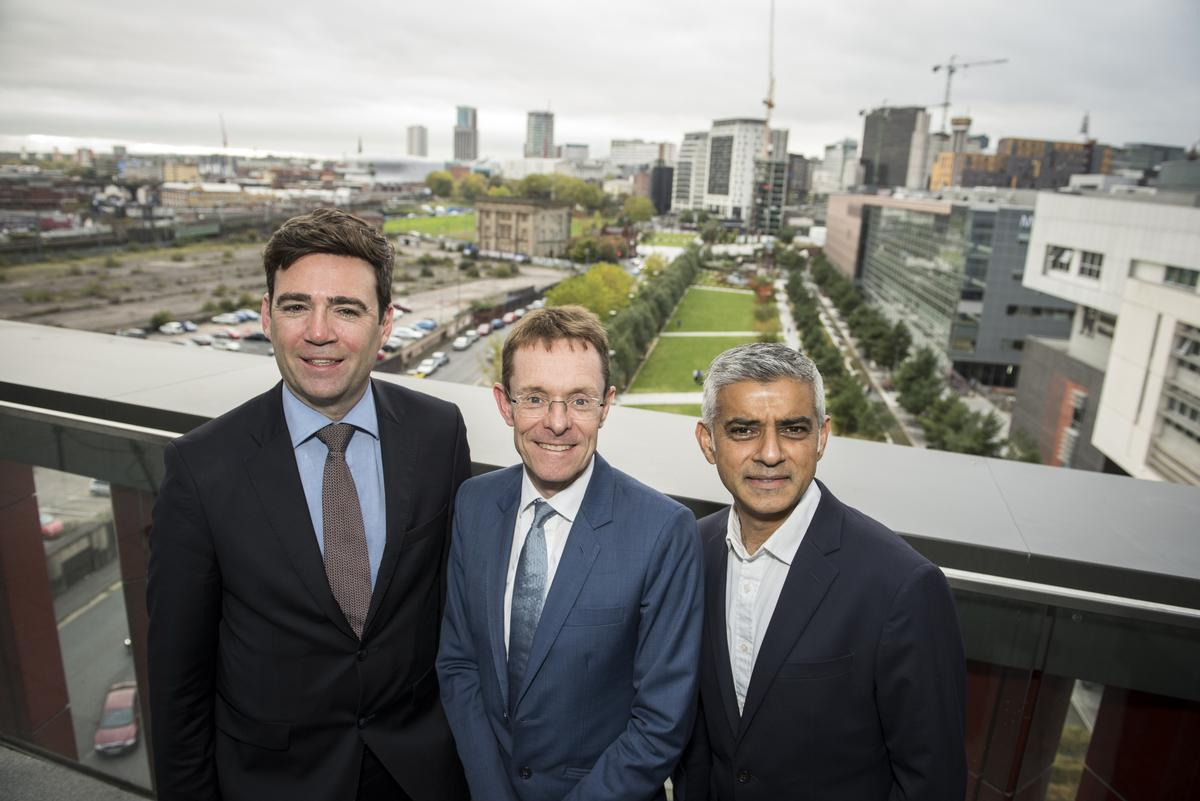 Left to right - The Mayor of Greater Manchester, Andy Burnham; West Midlands Mayor Andy Street; The Mayor of London Sadiq Khan